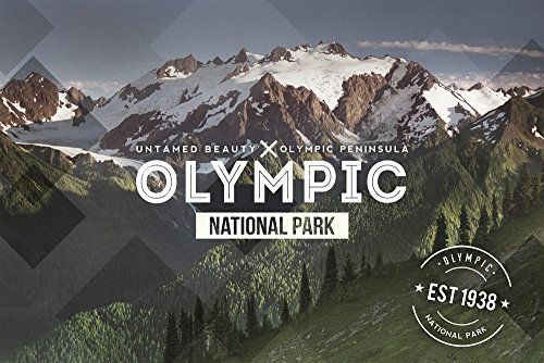 (Olympic National Park, Washington - Rubber Stamp (16x24 SIGNED Print Master Giclee Print w/Certificate of Authenticity - Wall Decor Travel Poster))