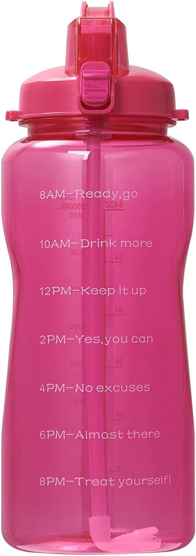QAZW Botella de Agua de 1 Galón con Marcador de Tiempo/Pajita - Botella de Agua para Deportes Motivacional Grande Sin BPA de 128 Oz Jarra de Agua de Oficina de Plástico Grande Tritan,Red-2L