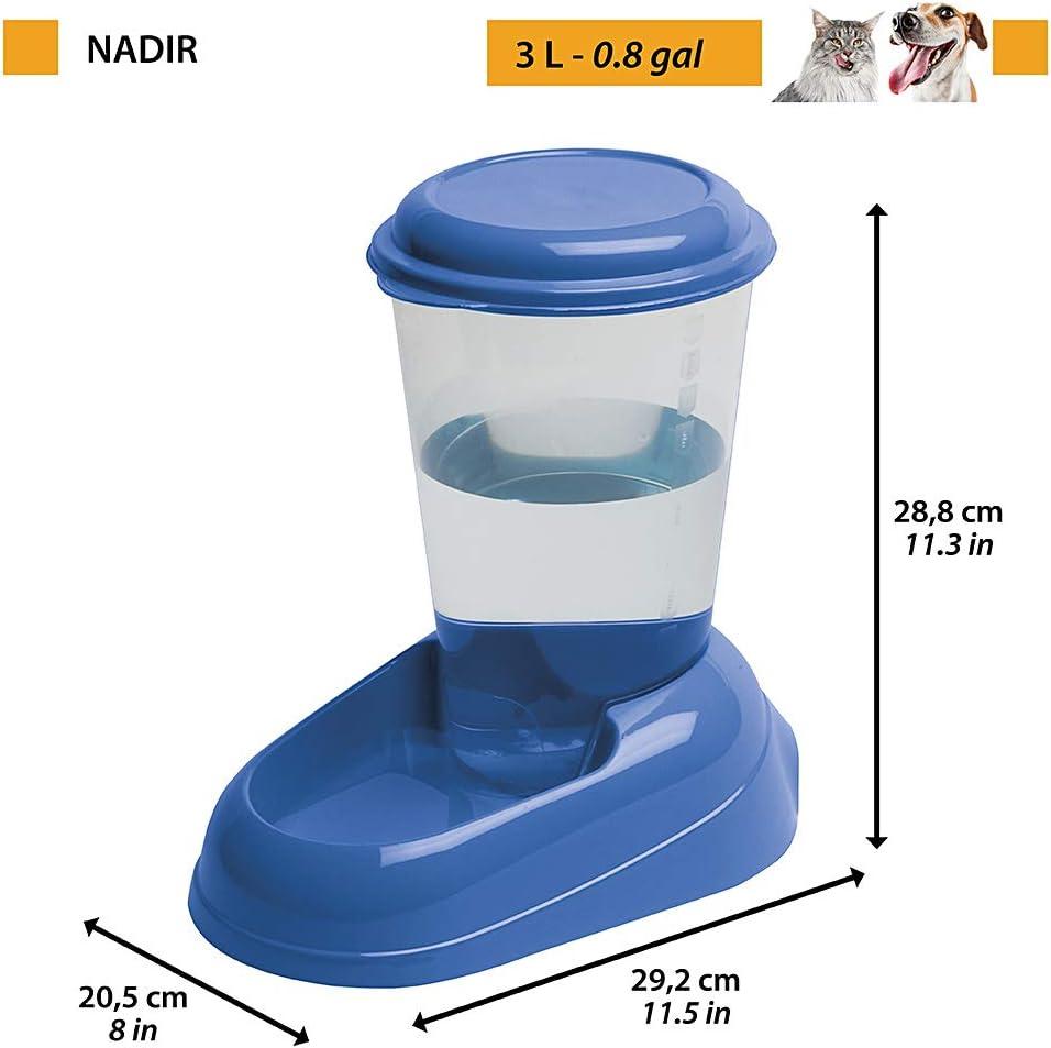 Ferplast Dispensador de agua para perros de talla pequeña y mediana y gatos NADIR 3 litros, Depósito transparente con tapa, Plástico, Base antideslizante, 29,2 x 20,2 x h 28,8 cm Blanco: Amazon.es: Productos para mascotas