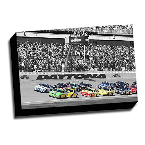 (Daytona Nascar Color Splash 12x18 Printed on Canvas Framed Ready to Hang)