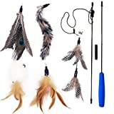 """33"""" Cat Feather Toy Wand, 5PCS Multi Feather Refill with Bell, Teaser and Exerciser For Cat and Kitten - Cat Toy Interactive Cat Wand"""