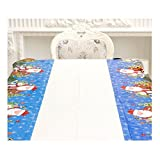 BBT-shop Christmas Decorations, Disposable Merry Christmas Rectangular Printed PVC Cartoon Tablecloth 110180CM (Blue)