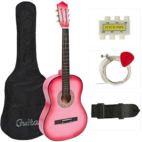 New Beginners Acoustic Guitar With Guitar Case Strap Tuner and Pick Pink