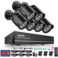 SANNCE Complete 8CH 1080N Surveillance DVR with 6xHD 720P Outdoor Fixed Bullet Cameras CCTV Security Camera System, IP66 Weatherproof, Super Day/Night Vision, NO HDD Included