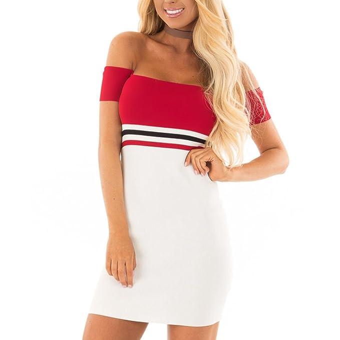 Vestidos de Mujer, ASHOP Vestido Verano 2018 Fuera del Hombro Casual Ajustados T-Shirt Vestido Coctel Fiesta Corto Dress Mini Stripy Playa Falda Elegantes ...