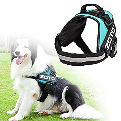 Service Dog Vest,ZOTO Adjustable Dog Harness Vest with 4 Removable Velcro Patches(In Training+ZOTO Logo),Soft Padded Non Pull Dog Reflective Vest,Dog Vest Large Size for Walking/Training