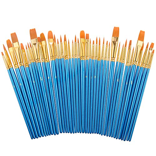 Paint Brush Set by heartybay, 40 pcs Nylon Hair Brushes for Acrylic Oil Watercolor Painting Artist Professional Painting ()
