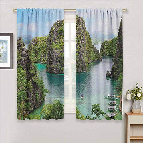 Jinguizi Island Small Window Curtain Landscape of Majestic Cliff in Philippines Wild Hot Nature Resort Off Picture Black Out Window Curtain Green Brown Blue 72 x 72 inch