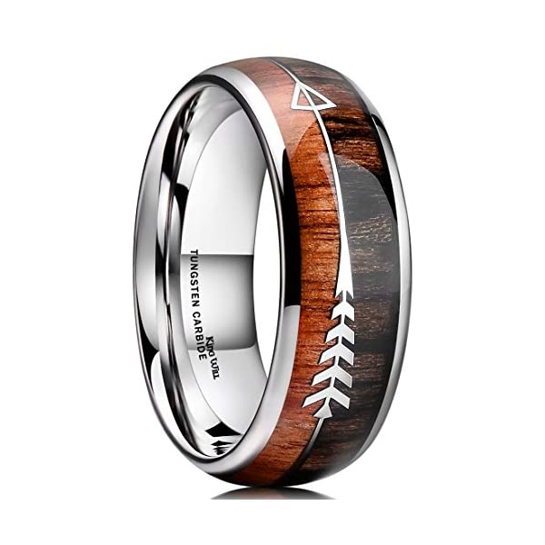 King Will Nature 8mm Tungsten Carbide Ring Inlay With Arrow