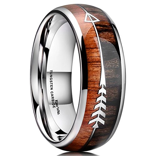 King Will Nature 8mm Men Real Wood Inlay Tungsten Carbide Wedding Ring Dome Style High Polished(6.5)