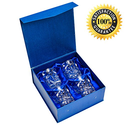 Diamond design Whiskey Glass, for Bourbon, Scotch, Rum, Tequila, Liquor, Wine or any other Alcohol - 250ml (9 oz). Set of 4
