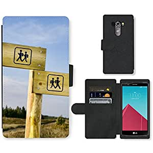 PU Cuir Flip Etui Portefeuille Coque Case Cover véritable Leather Housse Couvrir Couverture Fermeture Magnetique Silicone Support Carte Slots Protection Shell // V00002557 poste indicador Senderismo // LG G4 H815
