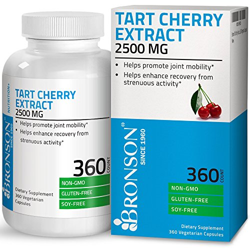 Bronson Tart Cherry Extract 2500 mg Premium Non-GMO Gluten Free Soy Free Formula Packed with Antioxidants and Flavonoids, 360 Vegetarian Capsules
