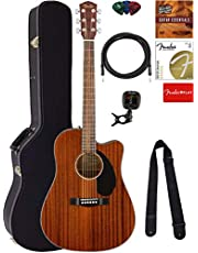Fender CD-60SCE Dreadnought Acoustic-Electric Guitar - Mahogany Bundle with Hard Case, Tuner, Strap, Strings, Picks, Austin Bazaar Instructional DVD, and Polishing Cloth