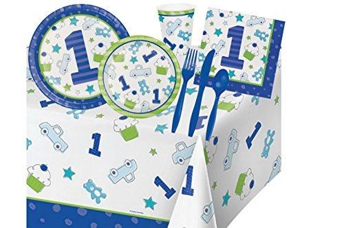 1st Birthday Party Supplies Bundle for Boys - Includes: Plates, Napkins, Cutlery, and Cups for 16 Guests Plus a Table Cover in Blue and Lime -