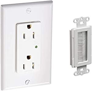 Leviton Amp, Decora Plus Surge Suppressor Receptacle, Straight Blade, Industrial Grade, Self Grounding & Arlington Industries Cable Entry Device with Brush-Style