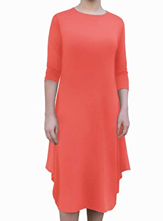dc94083c525a Kosher Casual Women's Modest Casual 3/4 Sleeve Flare and Drape Jersey Shift  Midi Dress at Amazon Women's Clothing store: