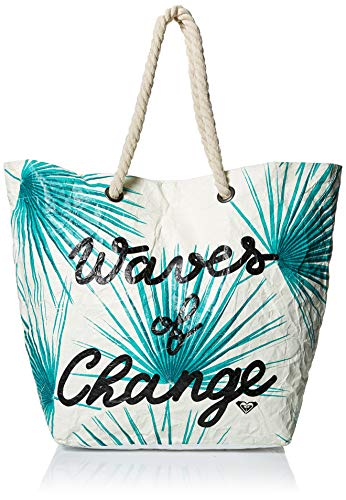 (Roxy Waves of Changes Recycled Paper Beach Tote, marshmallow)