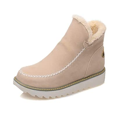 Stivaletti Donna Invernali Neve Caldo Pelliccia Bassi Stivali Scamosciata  Comode Scarpe con Zeppa Ankle Snow Boots 3cm Nero Marrone Beige 34-43   Amazon.it  ... 6e80ab994a7