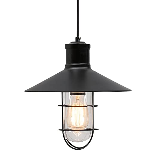 edison harbour caged pendant light black amazon co uk lighting