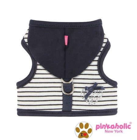 Pinkaholic Sweet Pinka Navy Blue Hooded Rhinestone Heart Harness Vest With Pin-Dog Sizes S-L (Small- Chest 10