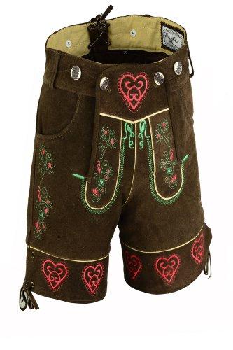 Herzige kurze Damen Trachten Lederhose aus Rindsvelourleder, Dunkelbraun,Gr.44