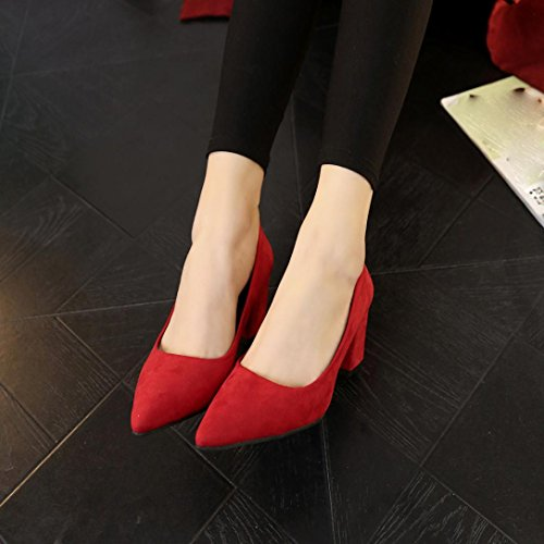 Clode® Block Ballet Slip Boat Ladies High Pumps Heel on Ballerinas Red Shoes Girls Comfortable Loafers rprawSq