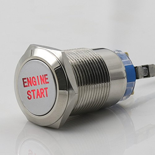 Engine Start Button Push Switch Ignition Car Automotive Red LED Metal 12V 3/4 (Engine Start Button)