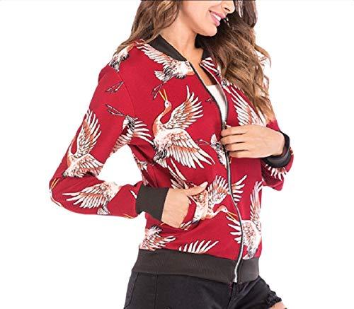 Printed Ethnic Open Style Baseball RkBaoye Jacket Women Front Flower Coat 2 cI05Sq