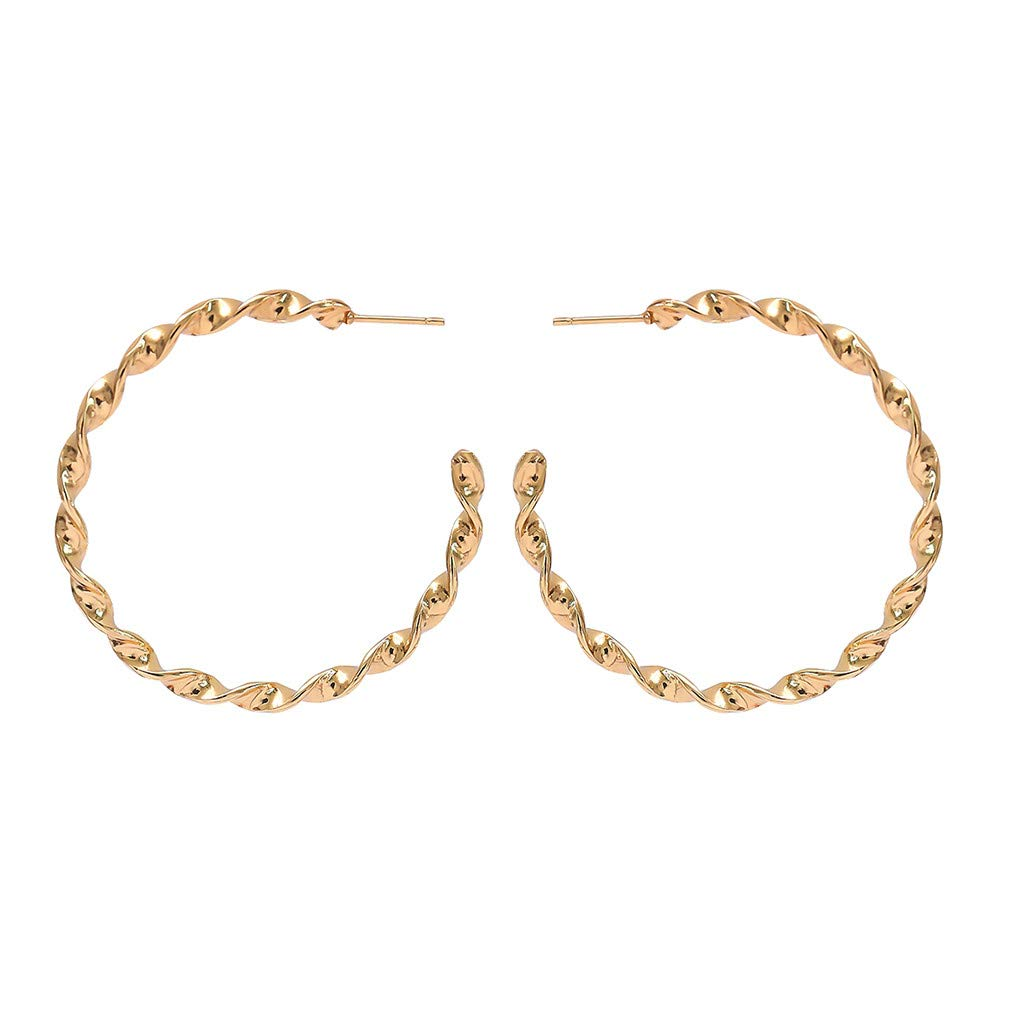 WaiiMak Women Thin Round Big Large Dangle Hoop Loop Earrings Gold
