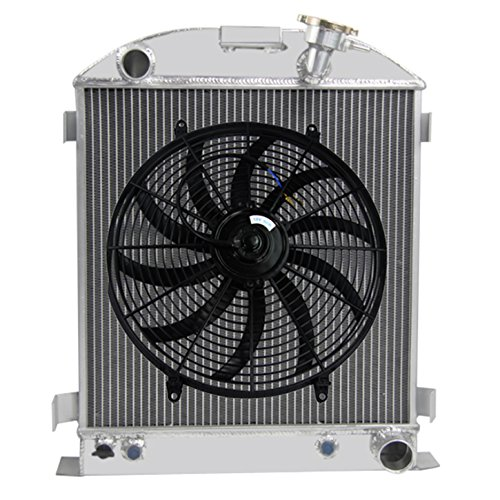 Primecooling 3 Row Aluminum Radiator for 1928-32 Chopped Ford Model A / 1932 Hi-Boy ,Low-boy w/ Chevy V8 Engine (Outlet Grill Primo)