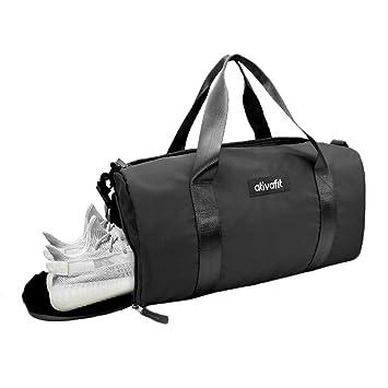 9ed17c13bc6 Amazon.com  Ativafit Women Gym Bag with Shoes Compartment Sports Swim Travel  Overnight Duffels, Black  AtivaFit