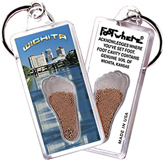 "product image for Wichita, KS ""FootWhere"" Souvenir Keychain. Made in USA (WCT101 - Cityscape)"