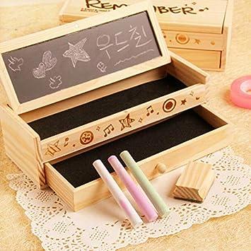 SUPERTOOL - Caja de lápices retro, 1 estuche de madera de calidad con cajón de doble capa con pequeña pizarra para estudiantes de escuela, niñas y niños: Amazon.es: Bricolaje y herramientas