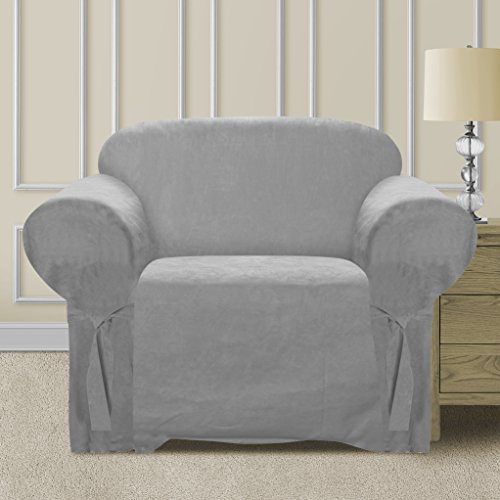 Elegant and Comfortable P&R Bedding Microsuede Sofa Furniture Slipcover (Chair, Light Grey)