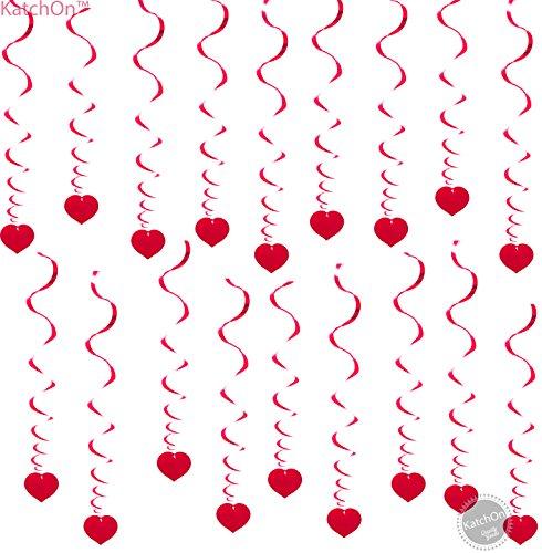 18 Hanging Heart Swirls - Valentines Day Decorations - Valentines Day Hanging Decorations for Ceiling - Great for Anniversary , Wedding, Birthday, Bridal Shower, Bachelorette Party - Ideas Dance Valentines Day