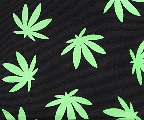 Mary Jane Bud Leaf Pattern Canvas Backpack - (Variety of Colors) (Black)