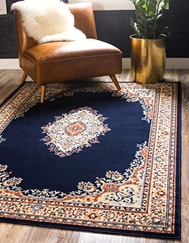 (Unique Loom Reza Collection Classic  Traditional Navy Blue Area Rug (2' x)
