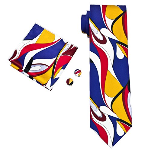 tie Set Abstract Floral Hanky Cufflinks (Abstract Silk Tie)