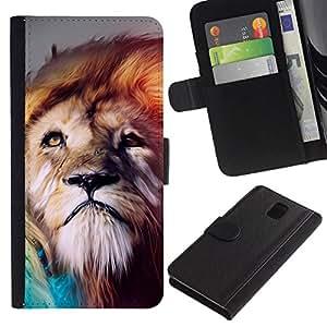 All Phone Most Case / Oferta Especial Cáscara Funda de cuero Monedero Cubierta de proteccion Caso / Wallet Case for Samsung Galaxy Note 3 III // Majestic Lion Painting