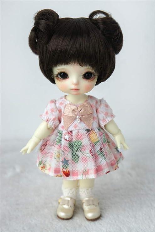 5-6inch Dolls Hair Synthetic Mohair BJD Wigs For 1//8 BJD Custom Dark Brown