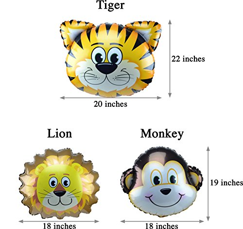 Jungle Animals Foil Latex Balloons Birthday Party Decorations Lion Tiger Monkey Zebra Giraffe Cow SAFARI ZOO Cupcake Toppers Pack of 34 by SAKIBO (Image #4)