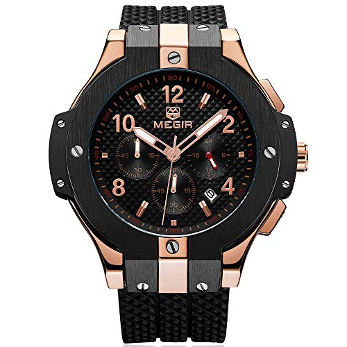 BAOGELA Mens Black Dial Chronograph Military Quartz Watch with Black Silicone Strap