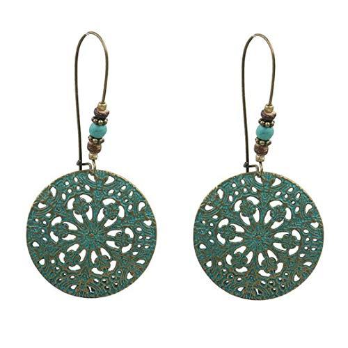 Drop Earrings Leaf Round Chandelier Rustic Ethnic Vintage Boho Bohemian Jewelry Metal Dangle for Women Pendant Gifts
