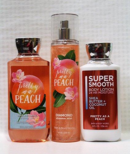 Bath & Body Works ~ Signature Collection ~ Pretty as a Peach ~ Shower Gel, Diamond Shimmer Mist & Body Lotion ~ Full Size Gift Set (Wash Body Jasmine White Diamonds)