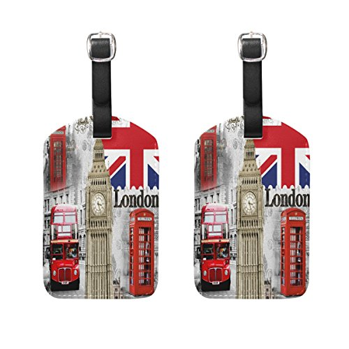 - Set of 2 Union Jack England London Flag Luggage Tags Suitcase Labels ID Tags
