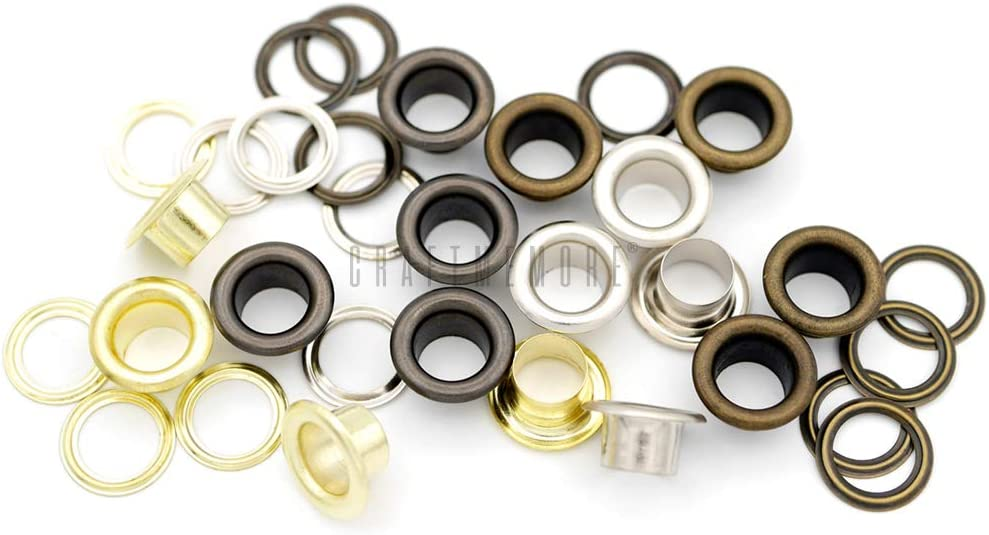 Canvas 720 Sets, Gunmetal Hole Size 720 Sets Metal Grommets Eyelets with Washers for Bead Cores CRAFTMEMORE 1//4 7MM Leather Clothes