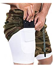 "INNOLV Men's Workout Shorts 7"" Running Gym Athletic Short 2 in 1 with Phone Pocket"