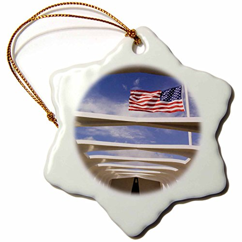 3dRose orn_89506_1 Hawaii, Oahu Flag, USS Arizona National Memorial US12 BJA0014 Jayne's Gallery Snowflake Porcelain Ornament, 3-Inch by 3dRose