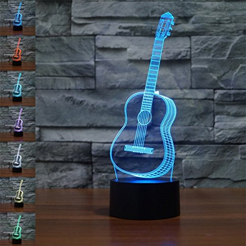 3D Illusion Guitar LED Desk Table Night Light Lamp by YBest,7 Color Changing Touch Control USB Battery Powered Perfect for Creative Decor&Gifts Review